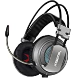 XIBERIA USB Headset with Microphone Surround Stereo Wired PC Gaming Headset Over Ear Headphones for PS4/PC/Laptop (Gray/Black)