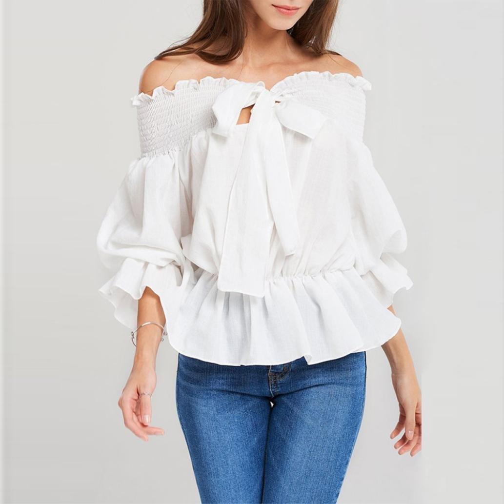 Camisas Mujer, ❤ Amlaiworld 2018 Blusas para Mujer Elegantes Sexy Camisas De Hombro sólidos Flounce Pajarita Blusa Camisa Blanca de Mujer con Volantes ...