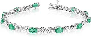 TheJewelryMaster Oro bianco 10K delle donne Ovale Smeraldo e Diamante Bracciale