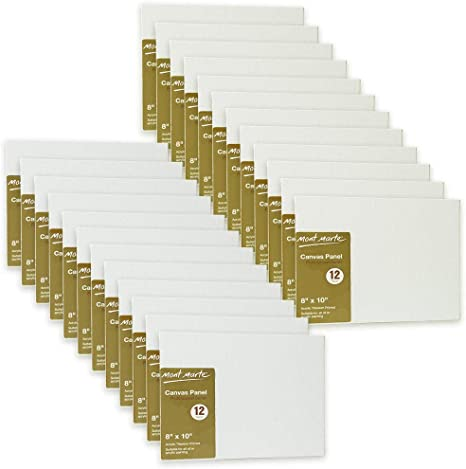 Pack of 24 4 X 4 inches Canvas Panel Great for Students to Professional Artists Mont Marte Canvas Panel