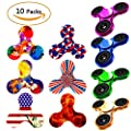 Fidget Spinner 10 Pack, EDC Hand Tri-Spinner Fidget Stress Relief Toys for Adults and Kids, All-in-one Design 2-3 Min Spins,Relieves your ADD ADHD Autism (10 Pack Mix) from Owen Kyne
