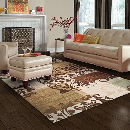 Superior Modern Storyville Scroll Collection Area Rug, 10mm Pile Height with Jute Backing, Beautiful Geometric Flourish Design, Anti-Static, Water-Repellent Rugs - 8' x 10' Rug