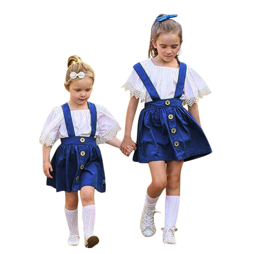 Summer 2pcs Baby Girls Clothes Outfits Kids Toddler Lace Ruffle Shirt Tops Solid Cotton Suspender Skirt Suit (Blue, 6-12 M)