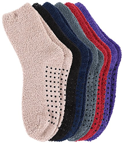 Burklett Adult Mens Thick Warm Indoor Anti-skid Winter Slipper Socks 6 Pairs