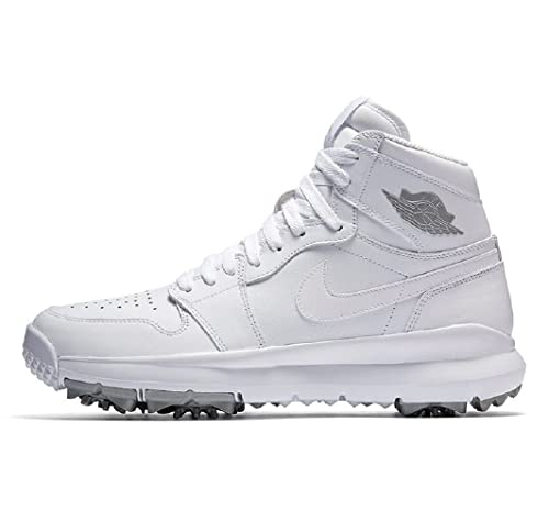 c766b93bc Nike AIR Jordan I 1 Golf Shoes White Metallic Silver 917717-101 US Size 10   Amazon.ca  Shoes   Handbags