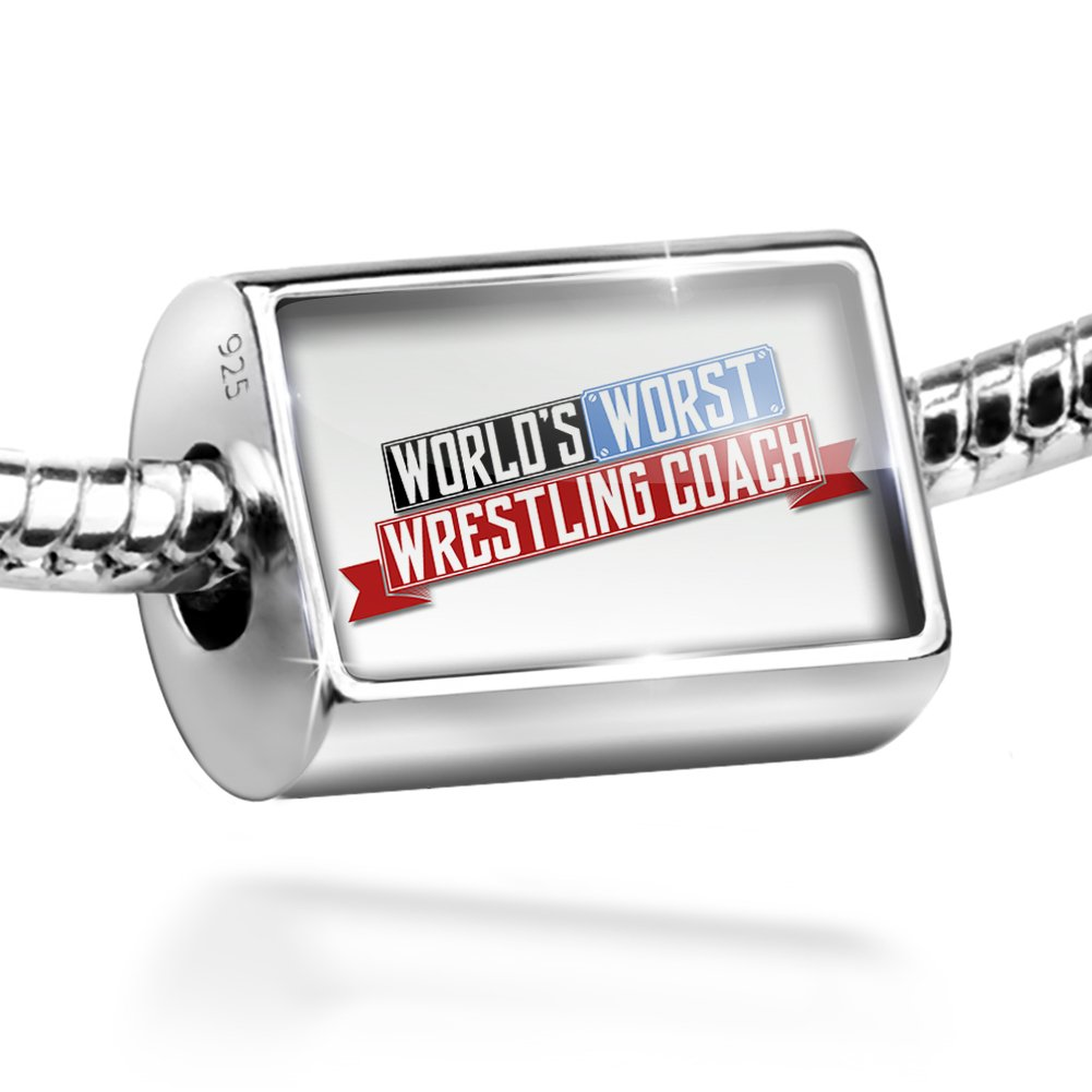Sterling Silver Bead Funny Worlds worst Wrestling Coach Charm by NEONBLOND