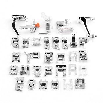 EleOption - Juego de 32 piezas de prensatelas multifuncionales para máquina de coser doméstica, accesorios de pie para Brother Singer: Amazon.es: Hogar