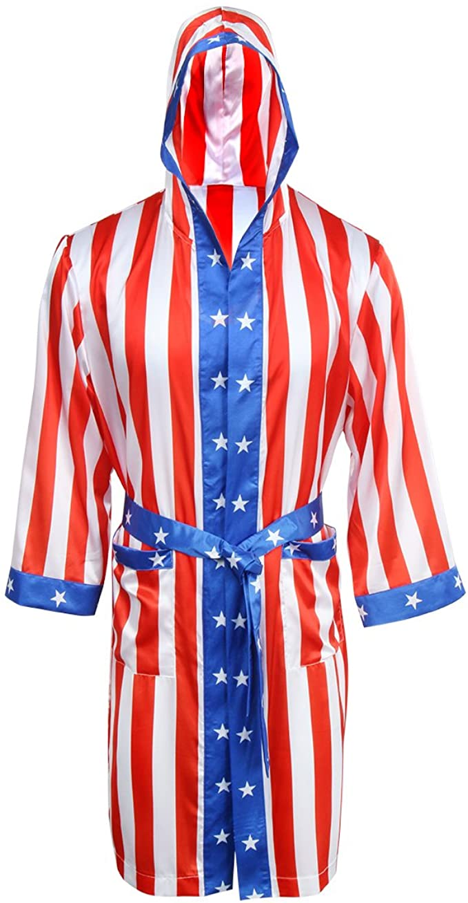 AMNPOLEN Adult Men Satin American Flag Boxing Costume Robe Cloak with Hood