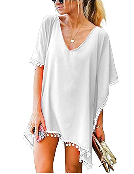 Ladies Women Beach Dress Cover Up Sarong Chiffon White Kaftan Summer Wear Uk