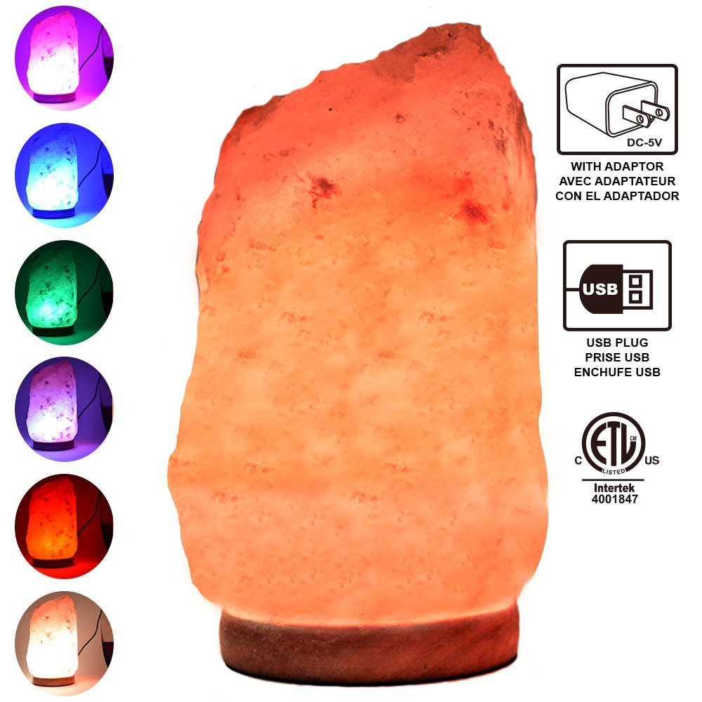 Himalayan Glow 900AC Multicolor USB Salt lamp, ETL Certified Himalayan salt lamp (4-5lbs) with wooden Base by WBM