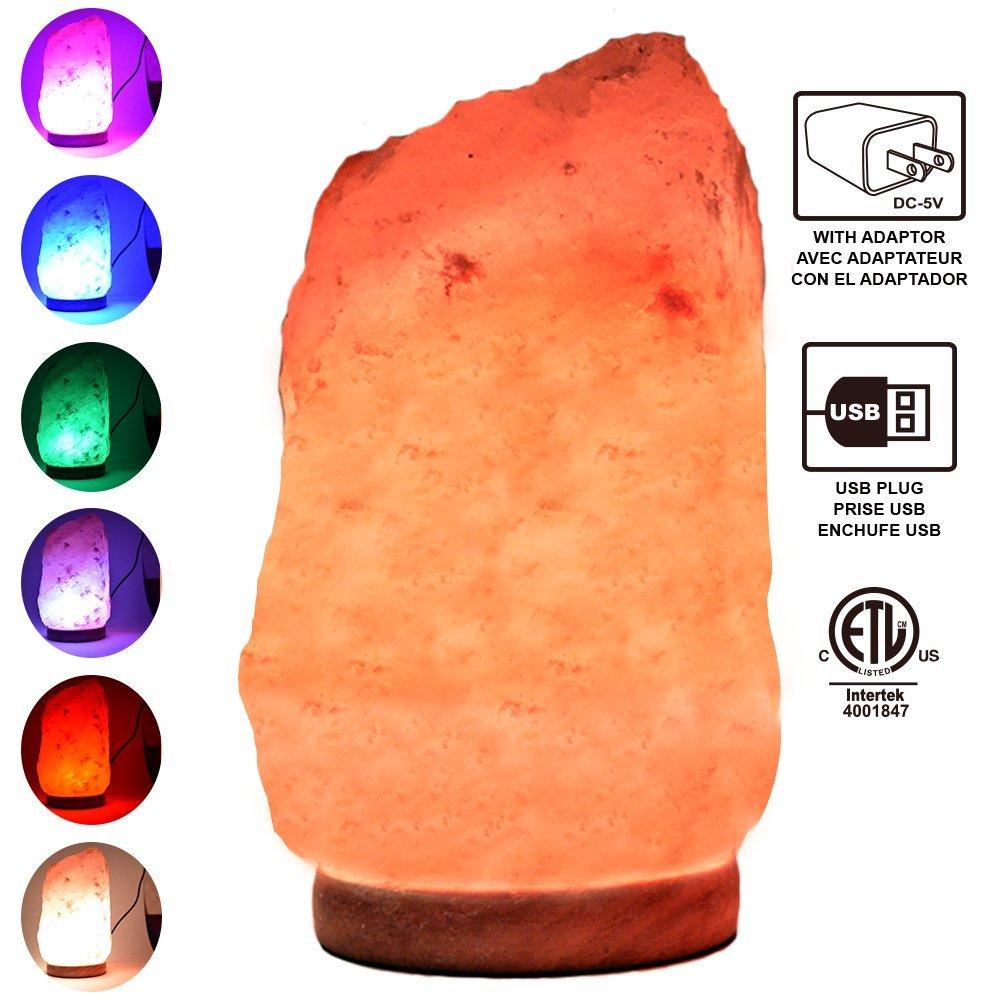Himalayan Glow 900AC Multicolor USB Salt lamp, ETL Certified Himalayan Salt lamp (4-5lbs) with Wooden Base by WBM