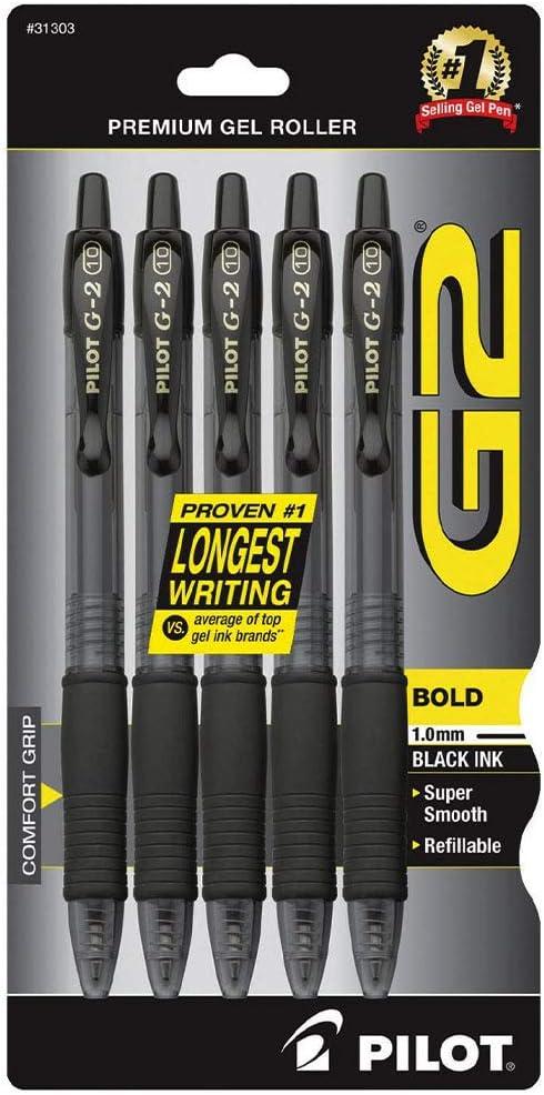 Black Ink Rolling Ball Gel Pens 5-Pack