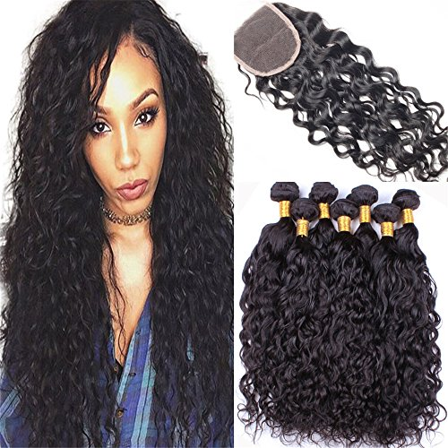 Ali Moda Hair 10 12 14 with 10inch 7A Grade Malaysian Water Wave Natural Wave with Closure Unprocessed Virgin Hair 4x4 lace closure (10 Inch Wave)