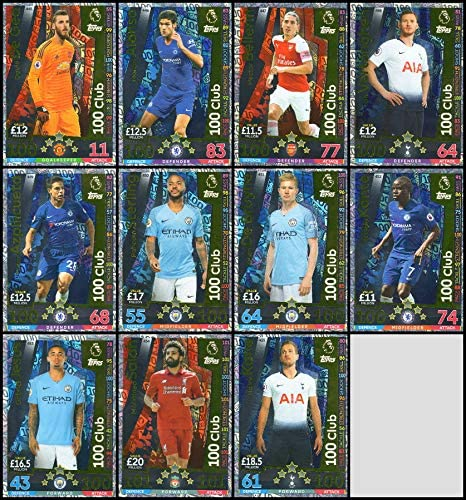 100 CLUB TRADING CARDS 11 Topps MATCH ATTAX CHAMPIONS LEAGUE 18//19 FULL SET OF ELEVEN