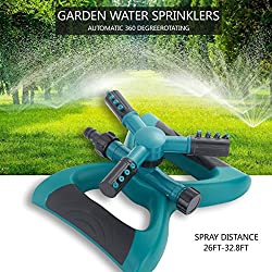 Lawn Sprinkler, Automatic 360 Rotating Adjustable Garden Sprinkler Garden Water Sprinkler with 3600 SQ FT Coverage Premium Quality Lawn Irrigation System