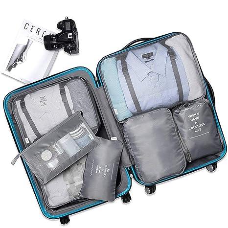Organizador De Cubos De Maleta 8 En 1 Set, Multifuncional Bolsa De Viaje Impermeable De Gran Capacidad Organizador De Equipaje Polyester Transpirable ...