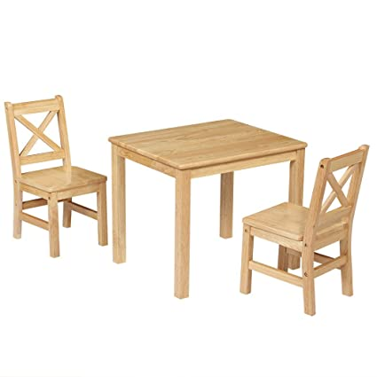EHemco Kids Table And 2 X Back Chairs Set Solid Hard Wood (Natural)