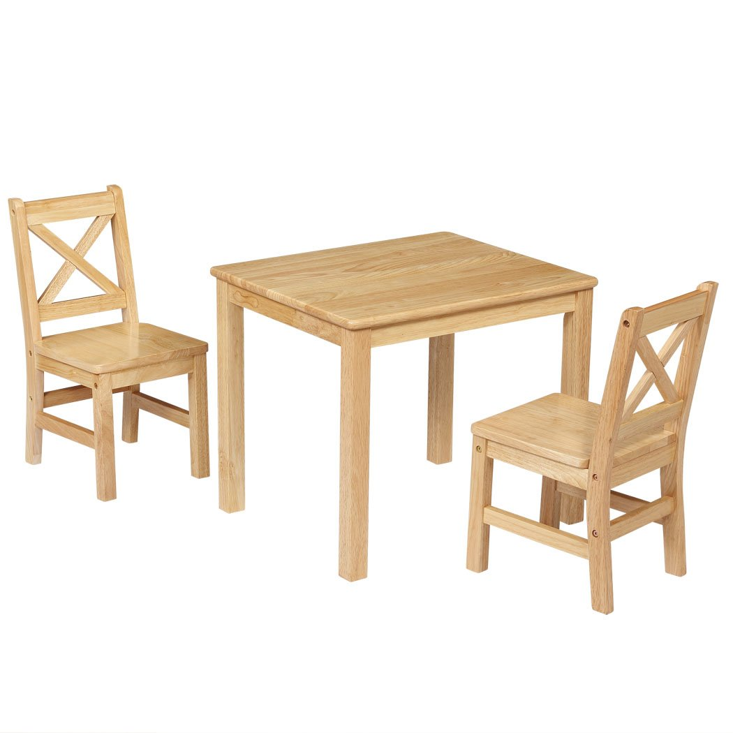 eHemco Kids Table and 2 X-Back Chairs Set Solid Hard Wood (Natural)
