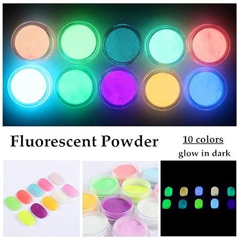NICOLE DIARY 10 colores de neón fluorescente fosforescente luminiscente polvo brillan en la oscuridad Decoración de