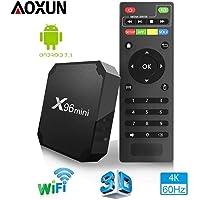 [2018 Smart TV Box Android 7.1【RAM 2G+16G ROM】 - Mini TV Box Aoxun X96 Neueste Amlogic S905W Quad Core Prozeßor, 4K Ultra HD H.265, 2 x USB-Anschluss, HDMI, WiFi Media Player