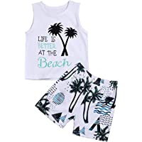 Xinlykid Toddler Baby Boy Clothes Coconut Tree Beach T-Shirt+Wave Short Pant Summer Breathable Outfit Set