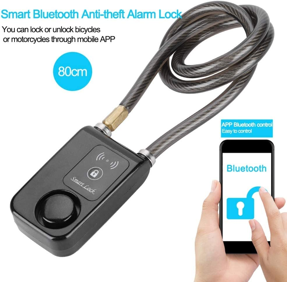 MAGT Bicycle Lock 80cm Smart Keyless Bluetooth Lock Waterproof 110dB Wire Rope Anti-Theft Alarm Bicycle Anti-disassembly and Anti-Shearing Lock