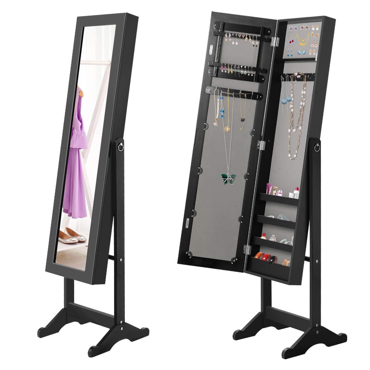 Giantex Jewelry Armoire Cabinet Organizer Storage Mirrored Stand