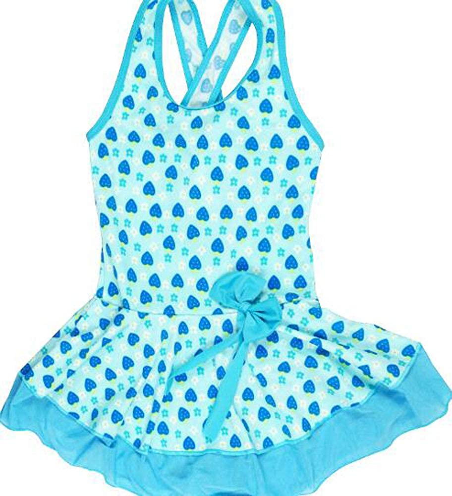 Fairy Wings Little Girl Strawberry Pattern One-Piece Swimming Suit with Bowknot Applique