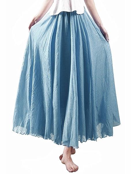 F-eshion Falda de Vestir de Estilo Nacional para Mujer, Azul ...