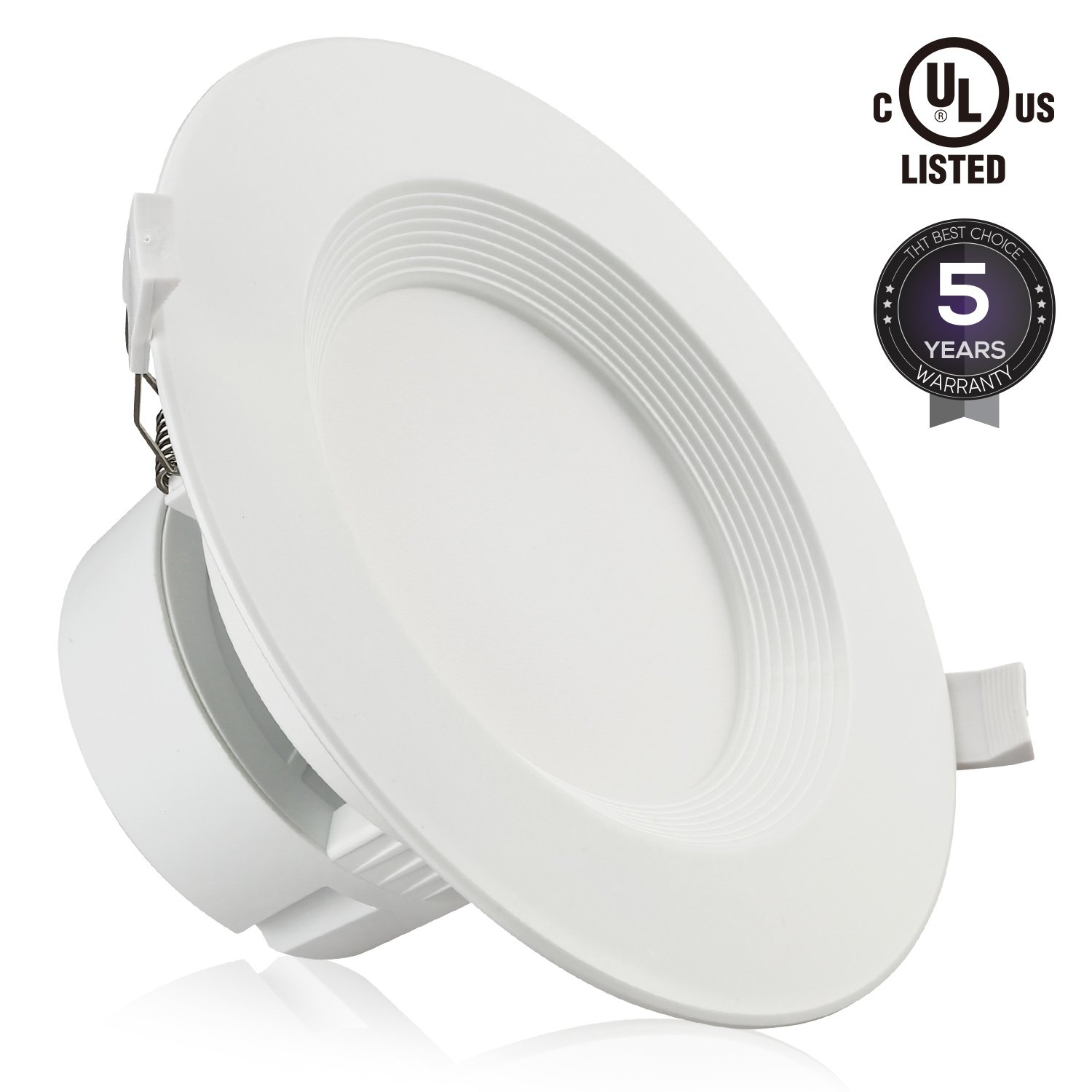 "6"" LED Recessed Downlight with Junction Box, 9W (80W Equivalent) Dimmable LED Ceiling Light Fixture, IC-Rated & Air Tight, Wet Location, 5000K Daylight, UL-listed, 5 Years Warranty"