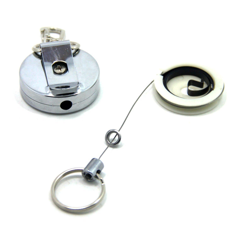 porta badge con clip da cintura con cavo in acciaio Fishing zinger 2PCS Topind metallo a scomparsa portachiavi chiavi