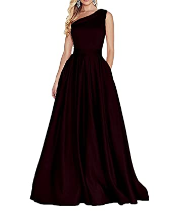 Ladsen Womens Satin Evening Dresses One Shoulder Prom Dresses Party Gowns Burgundy US4