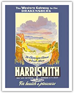 Harrismith, South Africa - The Drakensberg (Mountains of Dragons) - Vintage World Travel Poster c.1930s - Fine Art Print - 11in x 14in