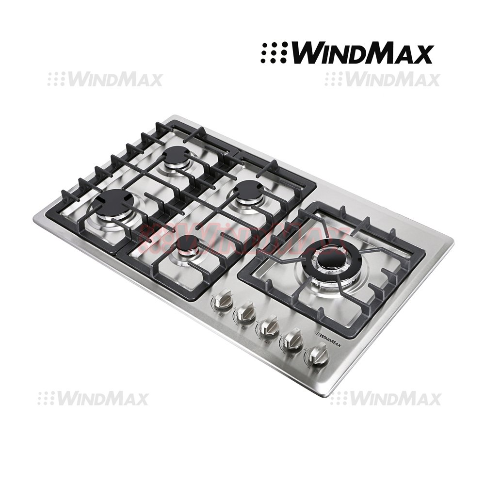 WindMax® 34'' Stainless Steel Circular Frame 5 Burners Stove NG/LPG Gas Cooktops Cooker by WindMax