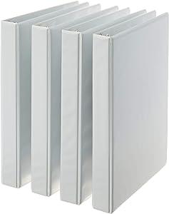 AmazonBasics 3-Ring Binder, 1 Inch - 4-Pack (White) (Renewed)
