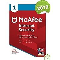 McAfee Internet Security 2019 | 1 Gerät | 1 Jahr | PC/Mac/Smartphone/Tablet | Aktivierungscode per Post