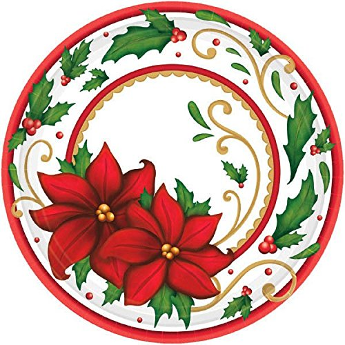 Winter Botanical Round Paper Plates For Festive Christmas, 60 Ct. | Party Tableware by amscan