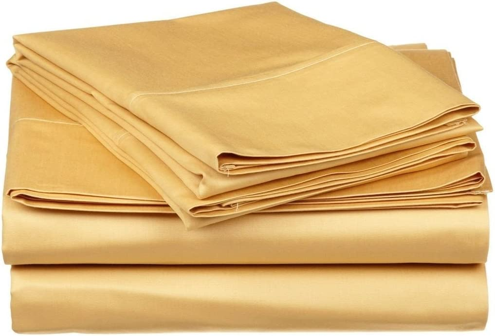 King of Cotton Bed Now on sale Sheets Set Milwaukee Mall Gold Th Egyptian-Cotton Solid 600