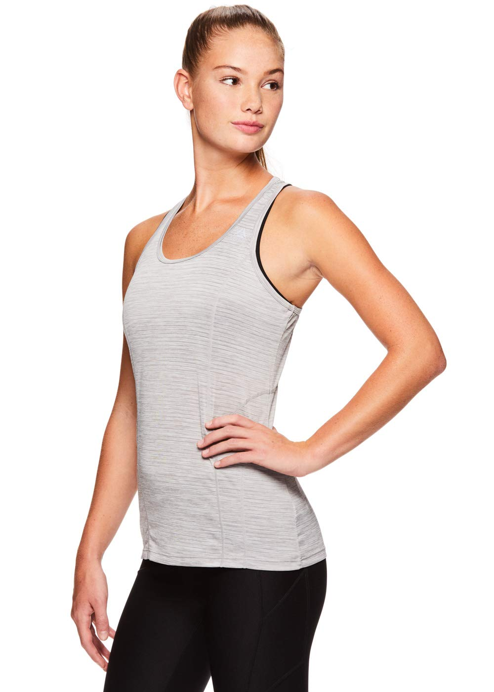 Reebok Women's Dynamic Fitted Performance Racerback Tank Top - Silver Sconce Heather, Small by Reebok (Image #2)