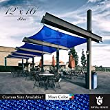 Royal Shade 12' x 16' Blue Rectangle Sun Shade Sail Canopy Outdoor Patio Fabric Shelter Cloth Screen Awning - 95% UV Protection, 200 GSM, Heavy Duty, 5 Years Warranty, Custom