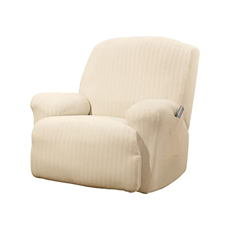 Sure Fit Stretch Pinstripe 1-Piece - Recliner Slipcover - Cream (SF39058)  sc 1 st  Amazon.com & Amazon.com: Sure Fit Stretch Pinstripe 1-Piece - Recliner ... islam-shia.org