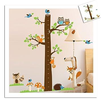 Perfekt Wandtattoo Wandsticker XXL Messlatte Deko Tiere Kinder Fuchs Kinderzimmer  Wald Baum