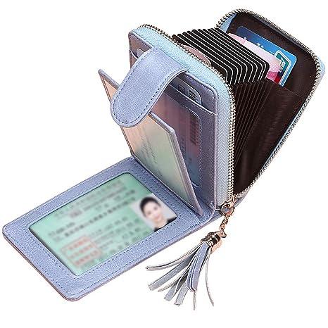 64614d88fc5734 Porta Carte di Credito Donna SAMKING Genuino del Titolare della Carta di  Credito in Pelle RFID