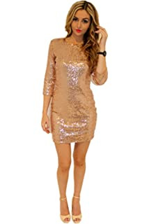 TowerTree Women s Sparkle Glitter Sequin 3 4 Sleeve Bodycon Shiny Party  Dress Vegas b03beff96