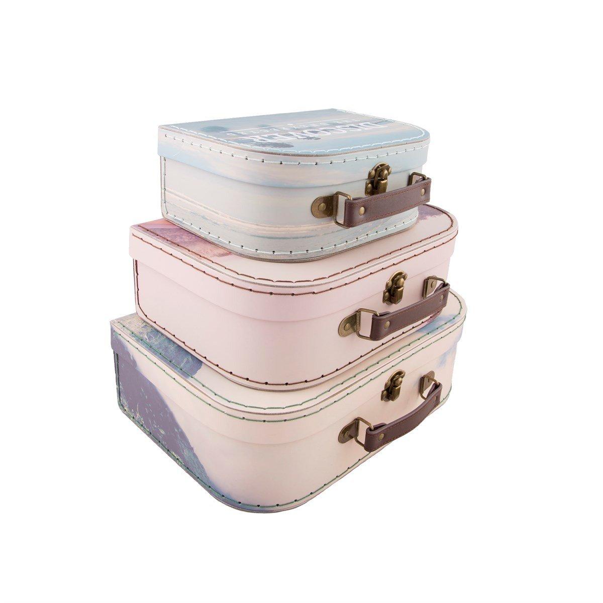 Retro Set de tres decorativo Mini maleta de almacenamiento Caja de recuerdos para el turismo de aventura: Amazon.es: Hogar
