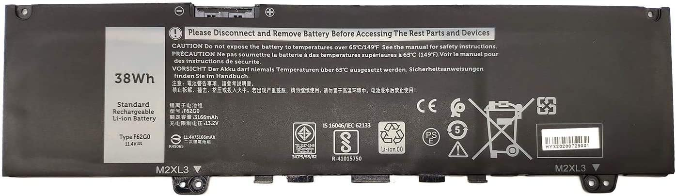 Tandirect New F62G0 Replacement Battery Compatible with Dell Inspiron 13 5370 7370 7373 7380 7386 P83G P87G Vostro 13 5370 D1525S D1505G R1605S D2505G Series(11.4V 38Wh)