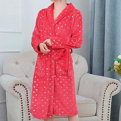 YSFU Albornoces Pijamas Albornoz para Mujer Otoño E Invierno Batas De Baño Largas para Damas Pijamas
