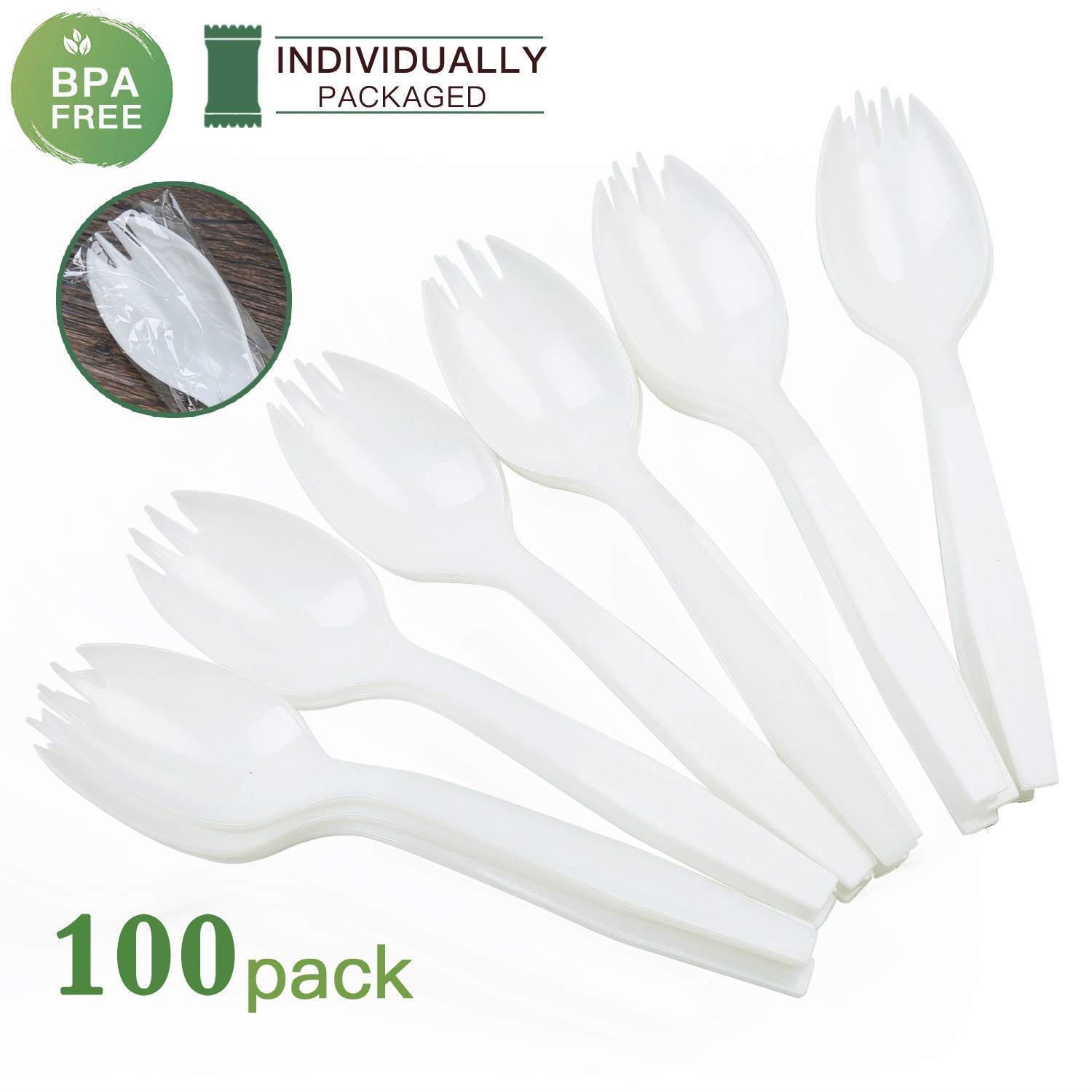 KAISHANE 100 Pieces White Disposable plastic Sporks Eco-Friendly BPA FREE Individually wrapped Sporks for School Lunch, Picnics or Party. by KAISHANE