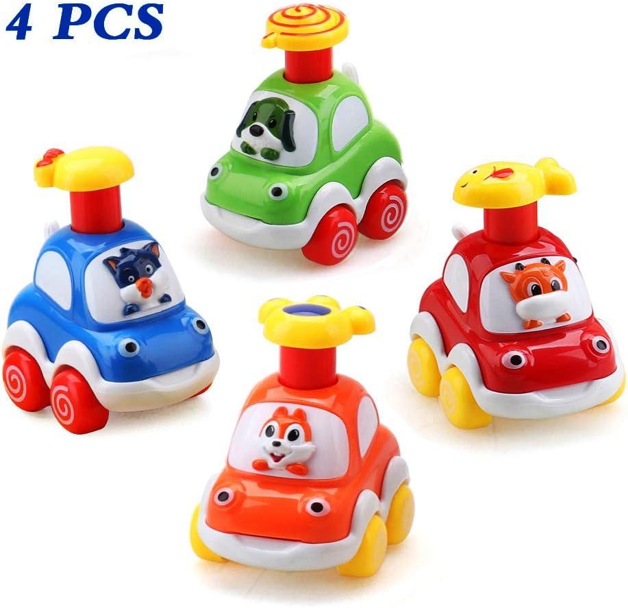 Amy&Benton Coches de Juguete, Surtido 4PCS Figuras Coches Vehículos De Juguete Coches Camiones De Juguete Regalos para bebés 1 2 3 4 años de Edad