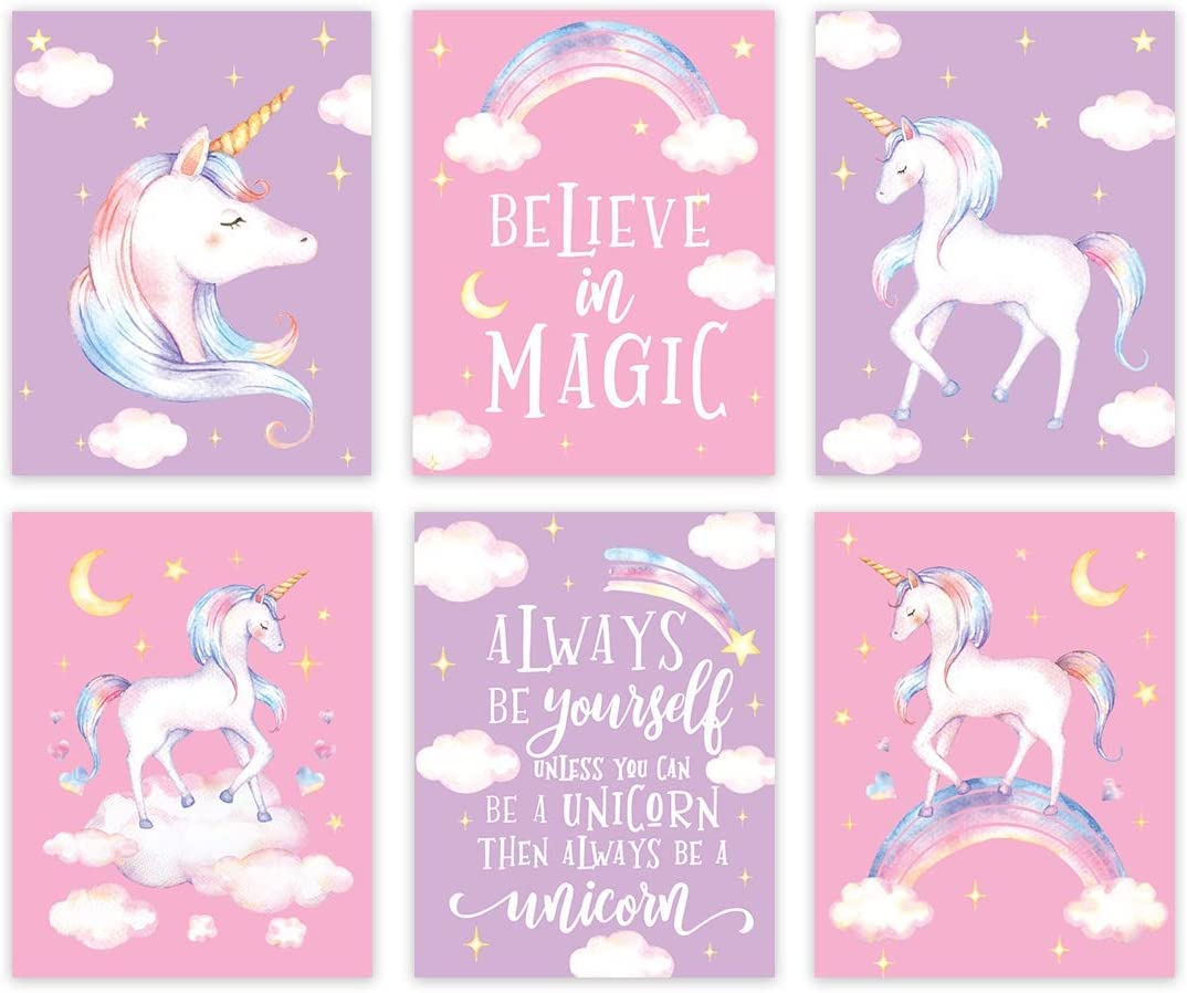 Andaz Press Unicorn Theme Nursery Girls Kids Room Unframed Hanging Wall Art Poster Home Decor, 8.5x11-inch, Pink Lavender Purple, Believe in Magic, Always Be Yourself, 6-Pack, No Frames